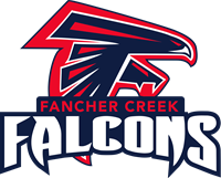 Red, Blue, and White Fancher Creek Falcon Logo